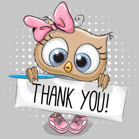 Cute cartoon owl Girl with plaque with inscription thanks Illustration