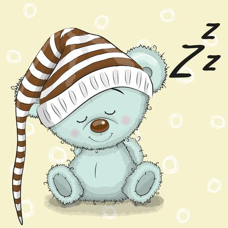 Sleeping schattige Teddy Bear in een kap op een witte achtergrond Stock Illustratie