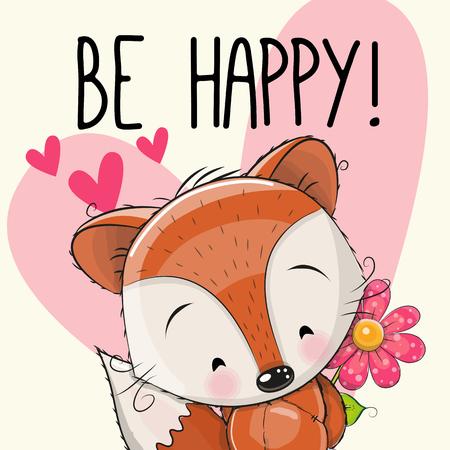 Soyez heureux Carte de voeux mignonne Fox avec des coeurs et une fleur