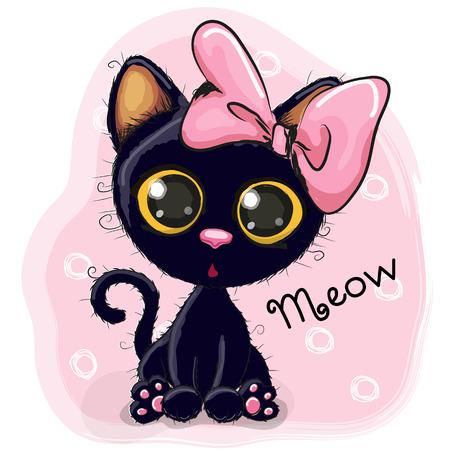 Gattino sveglio del fumetto nero su sfondo blu Vettoriali