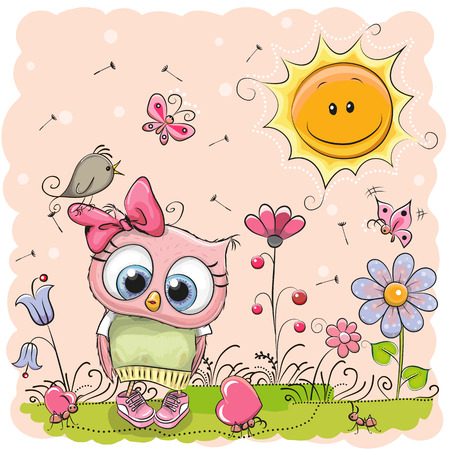 spring season: Cute Cartoon Owl on the meadow with flowers Illustration