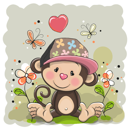cute cartoon girl: Monkey in a cap with flowers and butterflies