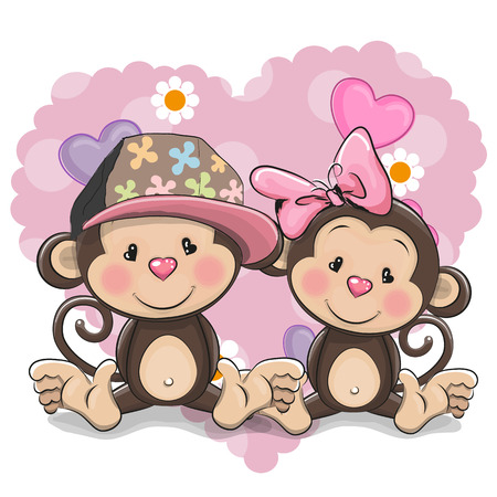 Two Cute Cartoon Monkeys on a heart background Illustration