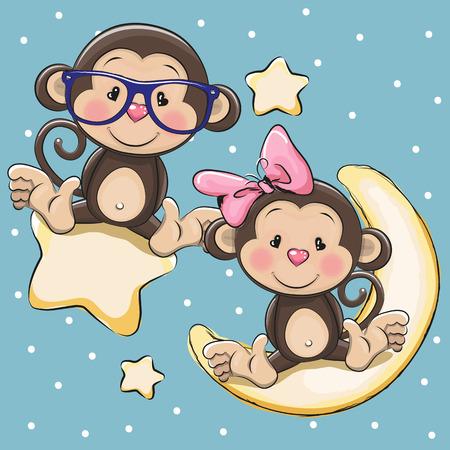 caricaturas de animales: Tarjeta de San Valentín con los amantes de los monos en una luna y la estrella