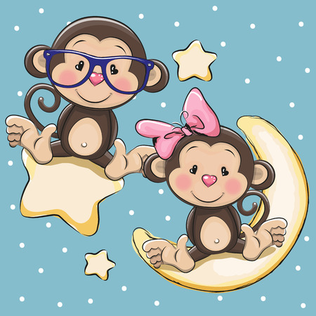 Valentine card with Lovers Monkeys on a moon and star Ilustração