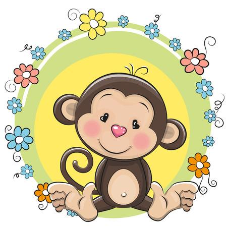 Carte de voeux de singe de bande dessinée mignon avec des fleurs Banque d'images - 57929140