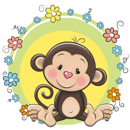 sad cute baby: Greeting card cute Cartoon Monkey with flowers