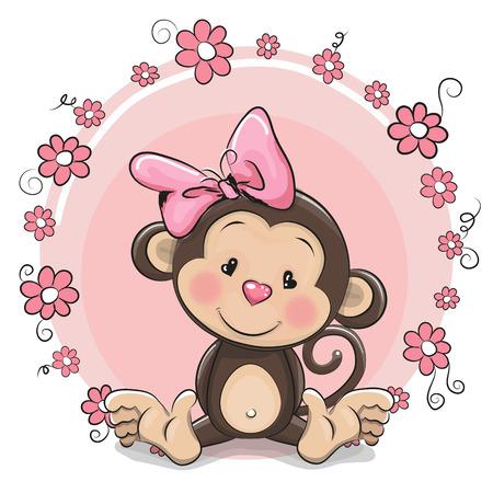 花とグリーティング カードかわいい漫画猿の女の子  イラスト・ベクター素材