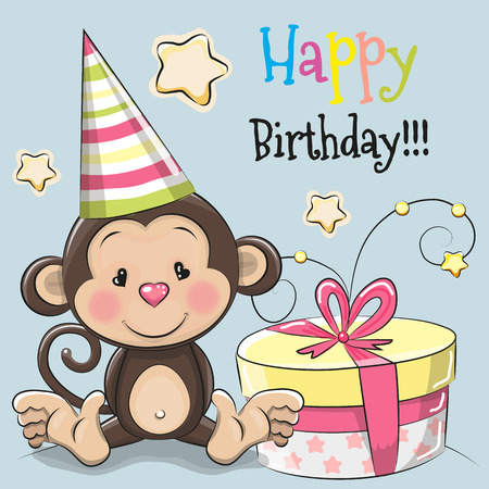 greeting card background: Greeting card cute monkey with gift on a blue background