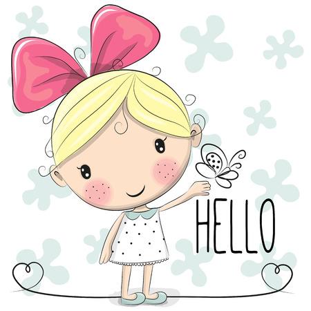 donna farfalla: Cute Cartoon Ragazza con un arco e la farfalla