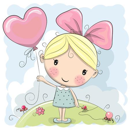 초원에 풍선과 함께 귀여운 만화 소녀 일러스트