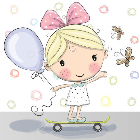 skateboarding: Cute Cartoon Girl with balloon on a skateboard
