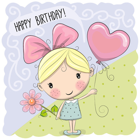 smile cartoon: Cute Cartoon Girl with a balloon and flower