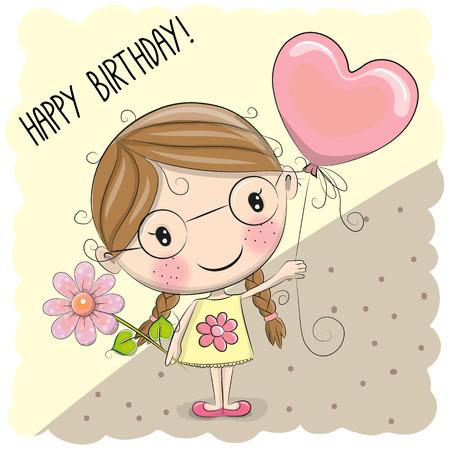 Cute Cartoon Girl with a balloon and flower