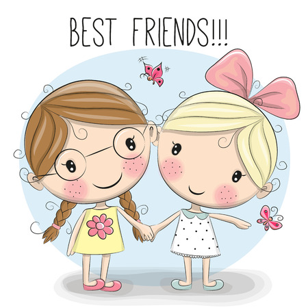 Two Cute cartoon girls keep for hands