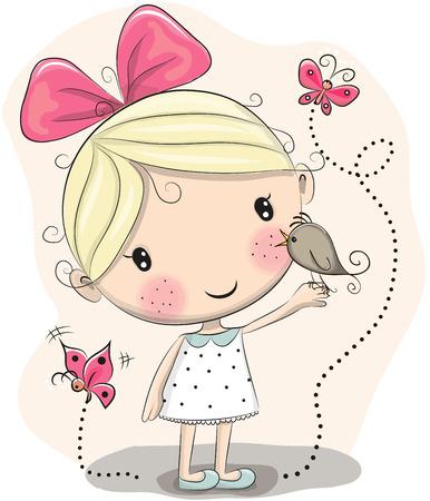 La muchacha linda de la historieta con aves y mariposas sobre un fondo rosa Foto de archivo - 58315475