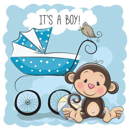 animated boy: Greeting card its a boy with baby carriage and monkey Illustration