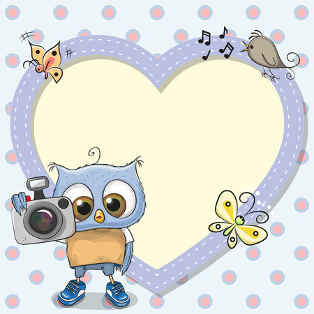 beautiful letters: Cute cartoon Owl with a camera and a heart frame