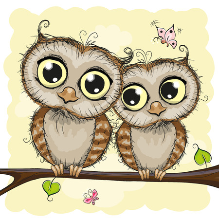 Carte de voeux avec Deux hiboux mignons Cartoon Banque d'images - 58816428