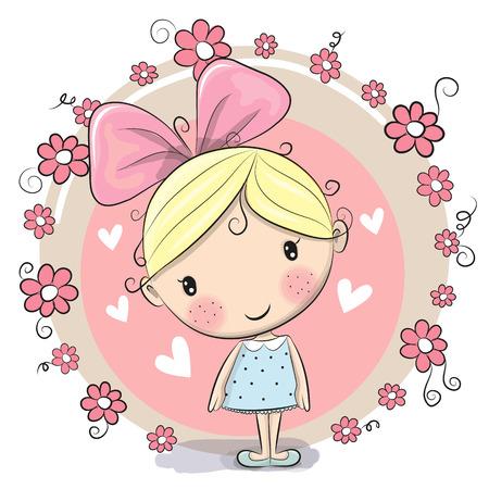 귀여운 만화 소녀와 분홍색 배경에 꽃
