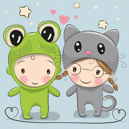 two children: Cute Cartoon boy in a frog costume and girl in a cat costume