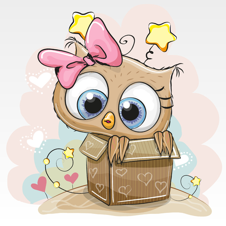 Birthday card with a Cute Cartoon Owl girl and a box Imagens - 59497649