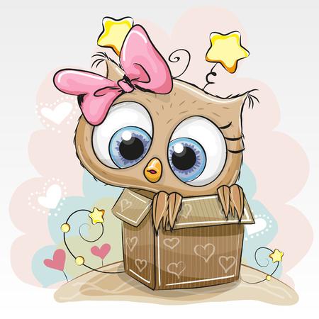 Geburtstagskarte mit einem niedlichen Cartoon-Eulen-Mädchen und einem Kasten Standard-Bild - 59497649