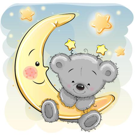 달에 귀여운 만화 테디 베어