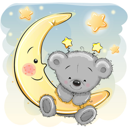 child sleeping: Cute Cartoon Teddy Bear on the moon