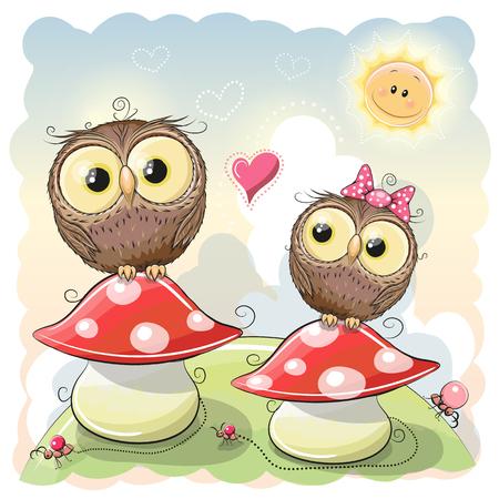 caricaturas de animales: Dos búhos lindos de la historieta están sentados en las setas Vectores