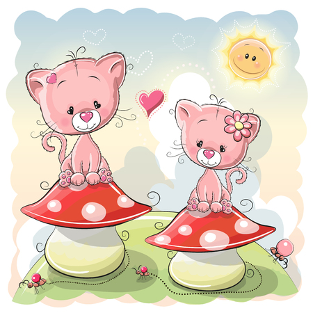 two child: Two Cute Cartoon kittens are sitting on mushrooms Illustration
