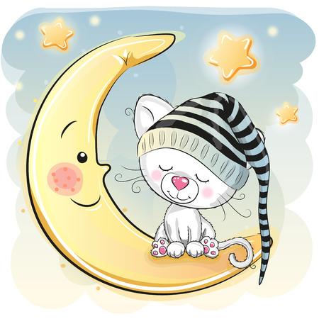 Cute Cartoon white kitten is sleeping on the moon