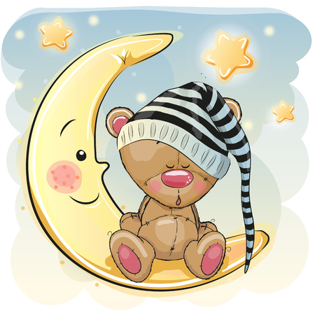 Cute Cartoon Teddy Bear is sleeping on the moon