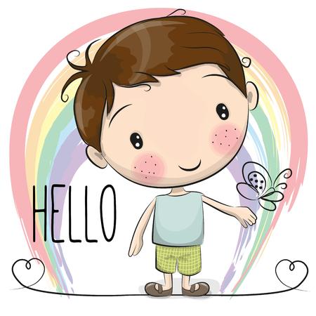 El muchacho de la historieta linda con un arco iris y de la mariposa Foto de archivo - 60712921