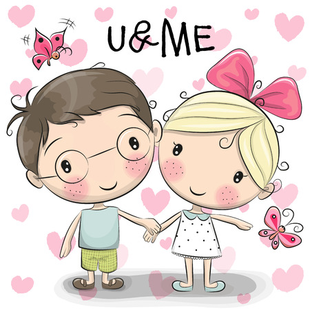 cute cartoon girl: Cute Cartoon boy and girl are holding hands on a heart background