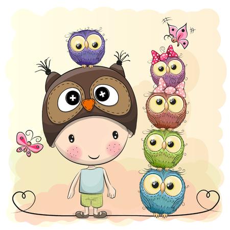 cartoon hat: Cute Cartoon Boy in a owl hat and five Owls