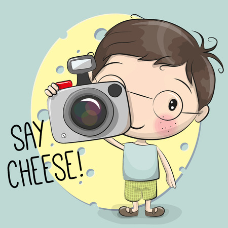 Cute cartoon Boy with a camera on a blue background