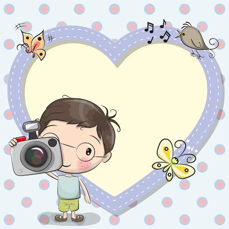 Nette Karikatur Junge mit einer Kamera und einem Herzrahmen