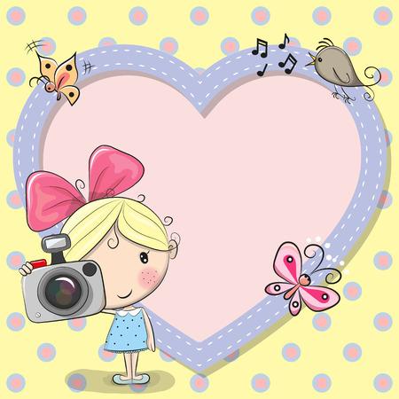 Cute cartoon Girl with a camera and a heart frame