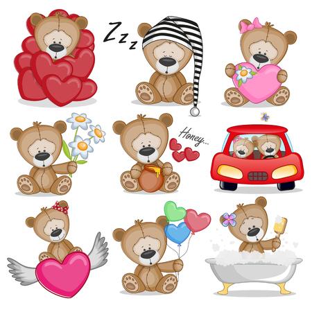 Set van Cute Cartoon Teddy Bear op een witte achtergrond