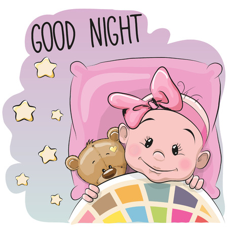 blanket: Cute Cartoon Sleeping Baby Girl with teddy bear in a bed Illustration