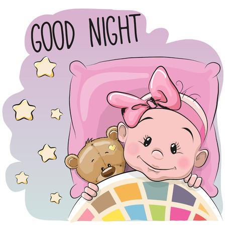 Mignon Cartoon Sleeping Baby Girl avec ours en peluche dans un lit Vecteurs