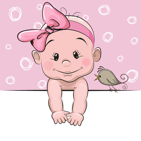 Cute cartoon baby girl and a bird on a pink background Çizim