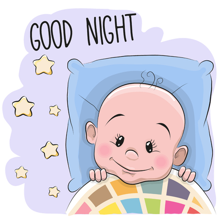 blanket: Cute Cartoon Sleeping Baby boy in a bed