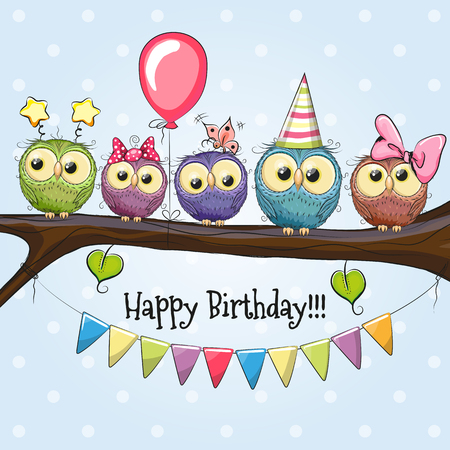 Five Owls on a brunch with balloon and bonnets Stock Illustratie