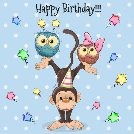 Birthday Card Two Cute Cartoon Owls and Monkey