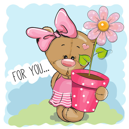 贺卡可爱的卡通泰迪熊女孩与一朵花