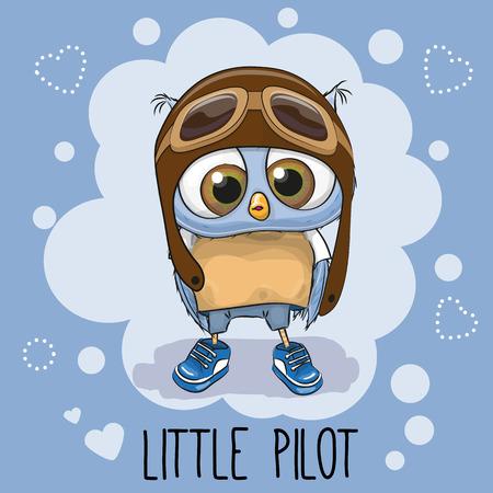 latin american boys: Cute cartoon Owl in a pilot hat