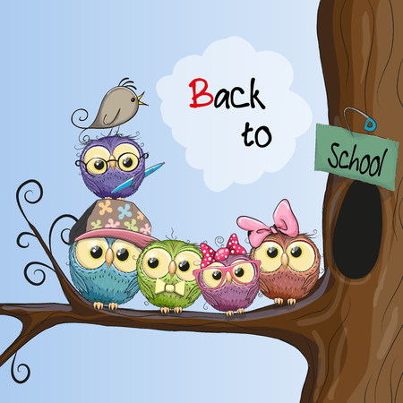 Five cartoon owls and a bird on the branch