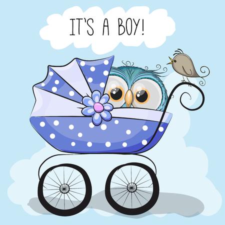 tarjeta de felicitación es un muchacho con el carro de bebé y búho lindo